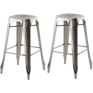 tabouret de bar lot de 2 tabourets de bar industriels mtal gris k - Tabouret De Bar Metal Industriel