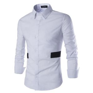 CHEMISE - CHEMISETTE Chemise Homme Slim Fit Marque Patchwork Chemise...