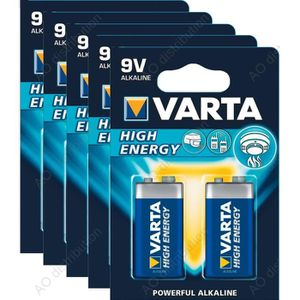 PILES 10 Piles Varta 9V / E Block (6LR61) High energy