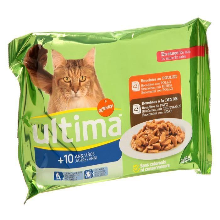 ULTIMA Bouchées - Pour chat Sénior +10ans - 4 sachets de 85G