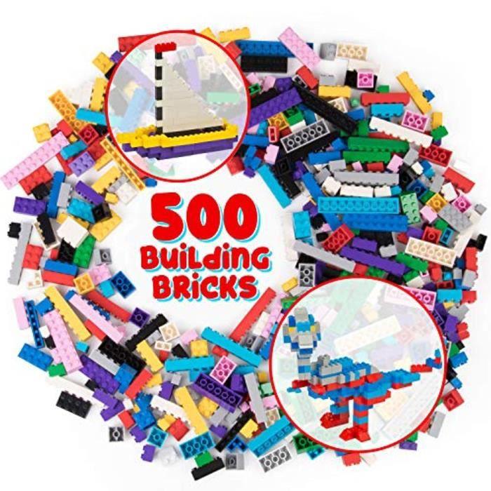 Jeu D'Assemblage SN794 Ensemble de 500 briques de construction pour - L'ensemble de blocs de jouets en vrac comprend 13 formes diffé