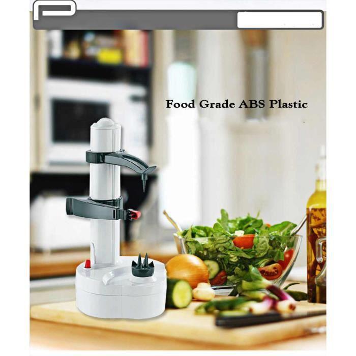 Eplucheur de pommes de terre electrique,2 lames supplementaires,Coupe automatique de fruits et legumes rotatifs (Blanc)