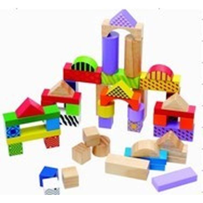40 Blocs de construction en bois - Multicolore