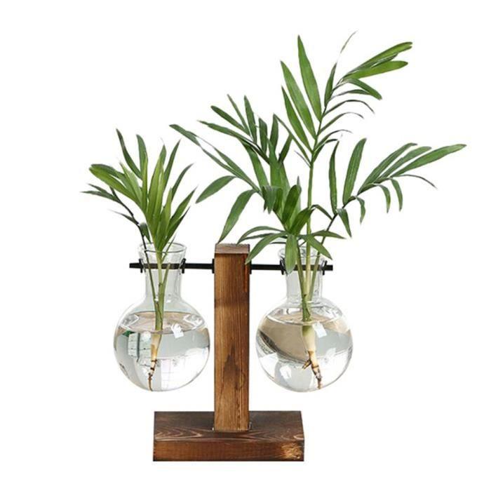 Vintage créatif Style robuste Type A Transparent Vase Micro culture hydroponique support bureau extérieur balcon décoration de