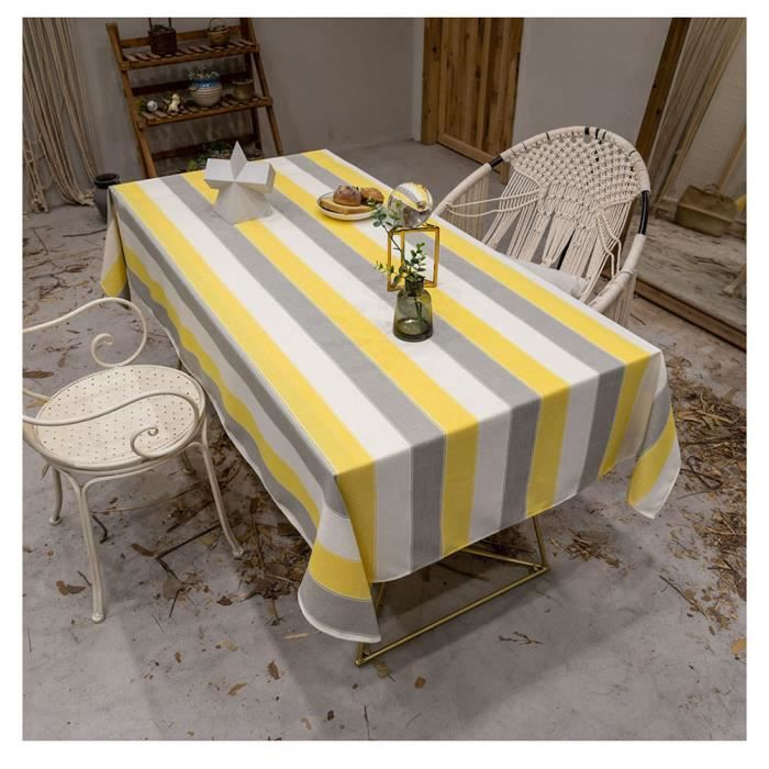 Nappe de Tables Rectangulaire pour Picnic Nappe Exterieur Decoration de Table de cuisine Jaune 110*170cm(table basse)