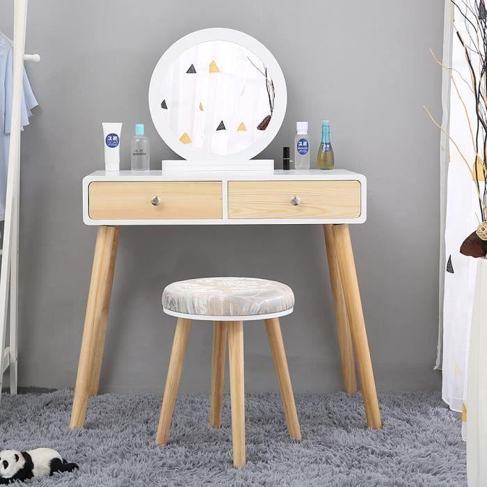 Maquillage Coiffeuse 2 tiroir avec coulisses miroir rond pieds en pin massif 80 x 40 x 125 cm tabouret housse lavable - Bois couleur