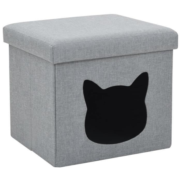 Chez Barry® 45181 Lit Grand Lit pliable - Lit adulte enfant - Lit de Repos - pour chats Faux lin 37 x 33 x 33 cm Gris Haute qualité