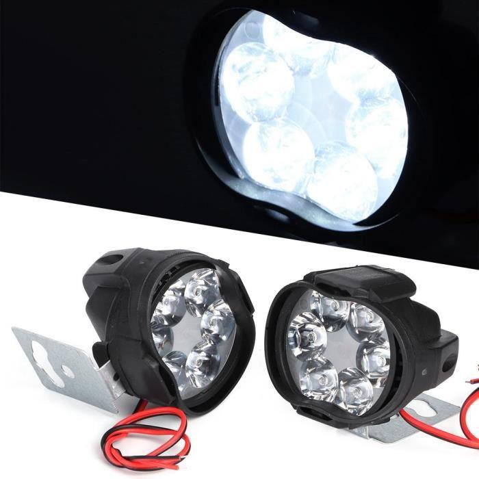 Atyhao phare antibrouillard LED 2PCS 6 LED Spot antibrouillard moto phare universel étanche avant lampe frontale 12V