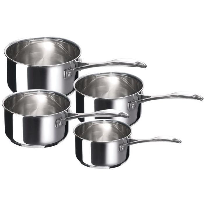 Batterie de 4 casseroles en inox Chef - D: 14 cm à D: 20 cm