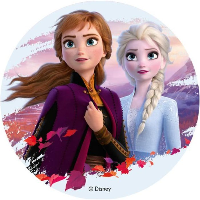 DISQUE AZYME FROZEN 2 Anna et Elsa POUR LA DÉCO DE VOS GÂTEAUX D'ANNIVERSAIRE 20CM