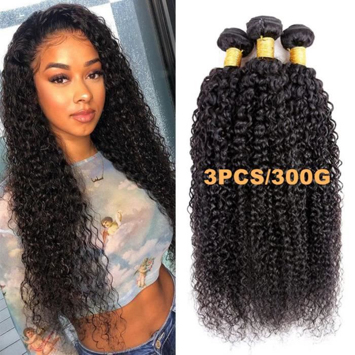 20-22-24- tissage en lot brésilien naturel frisé bouclé Deep Curly Extensions de cheveux humains non traités 100g-pcs