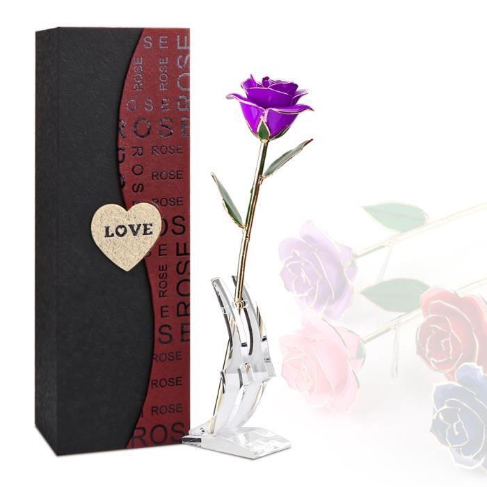 LEMONBEST® 24K Rose Eternelle - La Belle Et La Bête - Cadeaux De Saint-Valentin - Violet