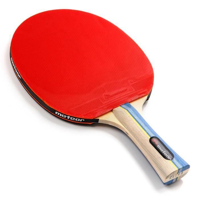 Raquette De Tennis De Table - meteor Sirocco - Ping Pong - pour amateurs et demi professionnels - Rouge Noir - 2 étoiles