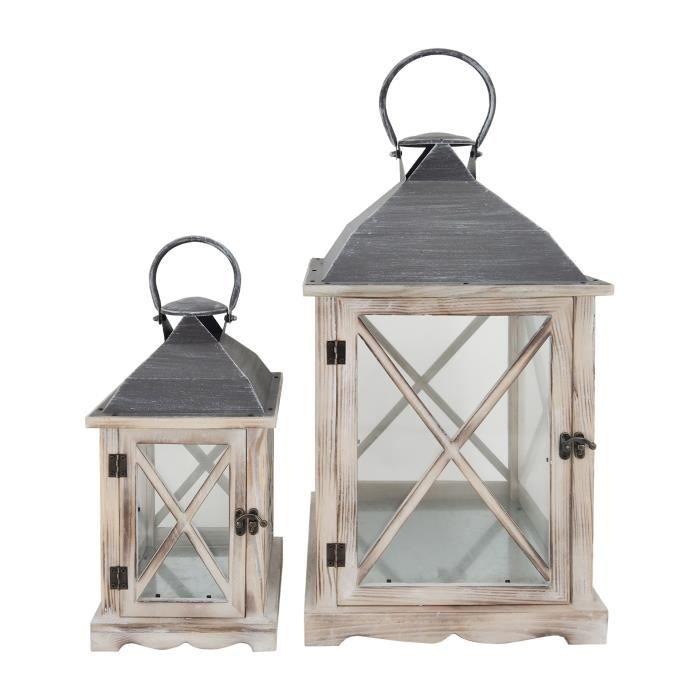 Rebecca Mobili Set de 2 Lanternes Décoratives Bois Métal Verre 52x28x28