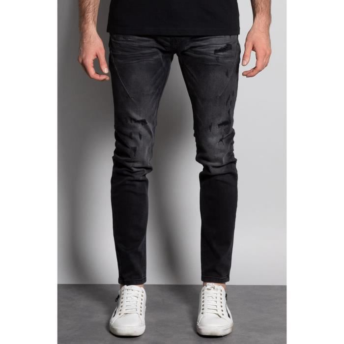 DEELUXE Jeans skinny effet destroy EBONY Black Used