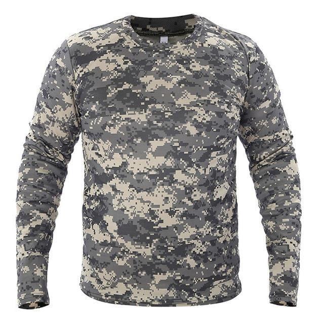 Zencart Vêtements Nouveau Automne Printemps Hommes à Manches Longues Tactique Camouflage T-shirt Camisa Masculina Séchage Rapide