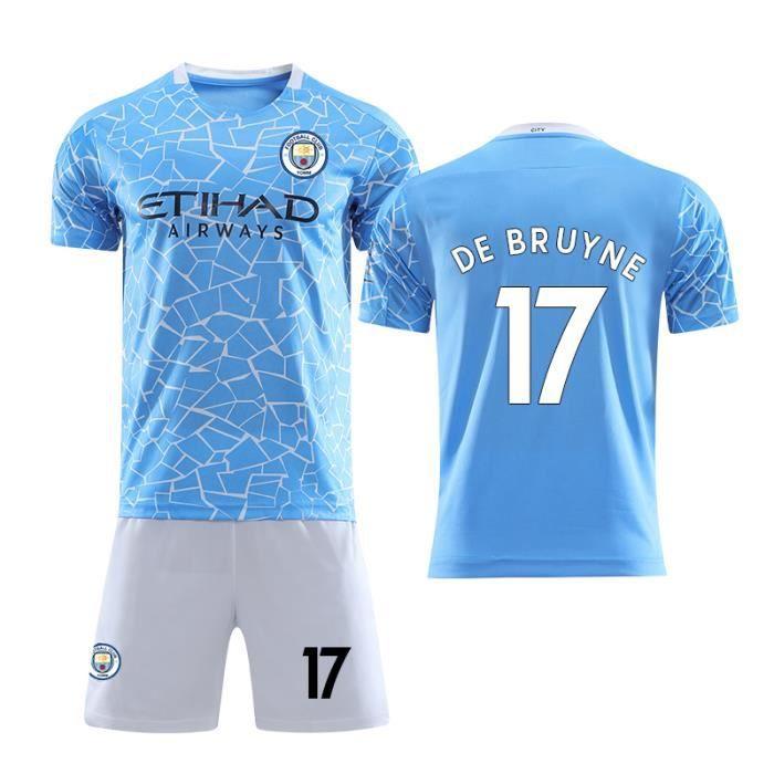 Nouveau Maillot Manchester City 2020 2021 Maillot de Foot No.17 De Bruyne Pas Cher pour Homme Enfant Garçon