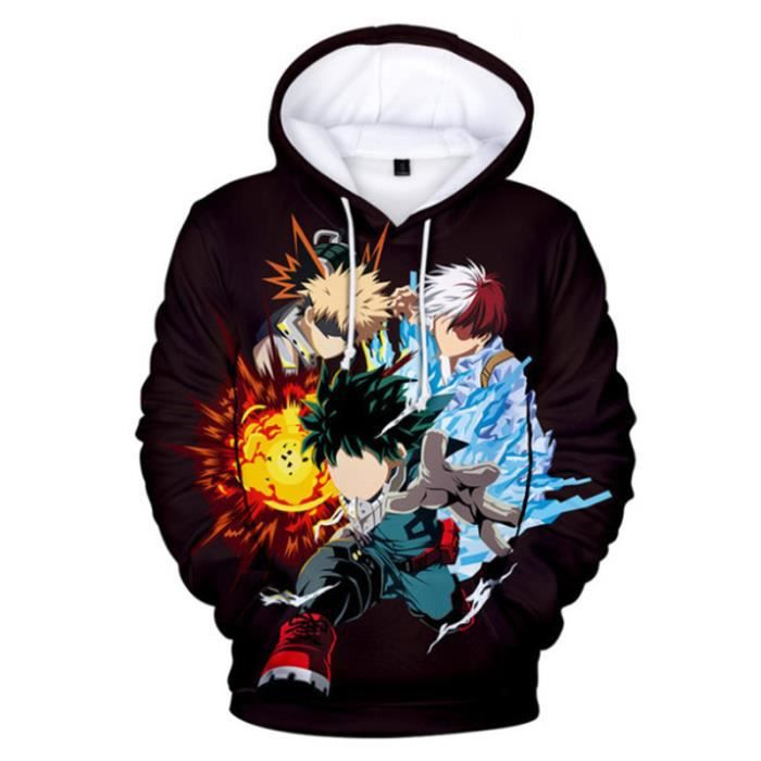 SWEAT-SHIRT Mixte - Sweatshirt à capuche imprimé mode My Hero Academia Adulte - style3 noir WX™