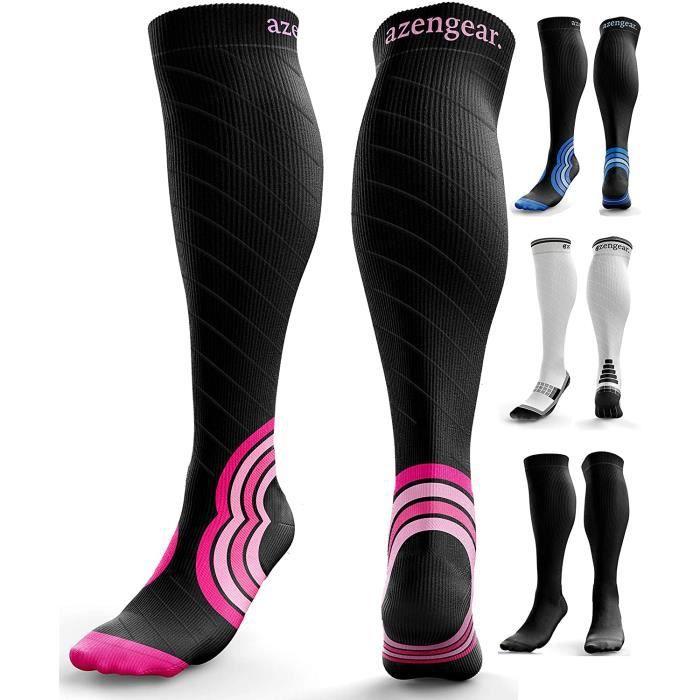 aZengear Chaussettes de Contention pour Homme et Femme (20-30 mmHg) - Chaussettes de Compression - Pro Sport - Recuperation - Anti-T