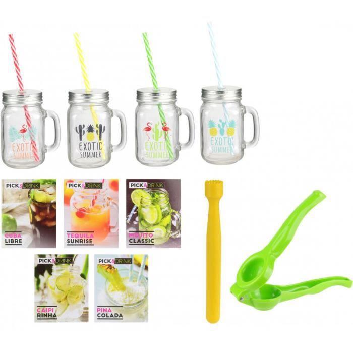 Pick&Drink KDO8598 Coffret Cocktail Exotic summer 4 Verres Jar bocal assortis Pilon Presse-citron et Recettes Verre métal et plastiq