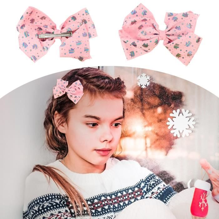 2pcs jolies filles créatives coiffures arc barrette licorne imprimé pince - barrette - chouchou - elastique capillaire