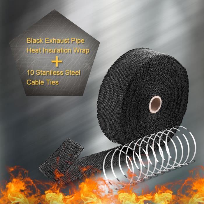 Bande Isolant Thermique Bande d/Échappement Enveloppe d/Échappement avec 10 Attaches de C/âble en Acier Inoxydable 10m x 50mm Ruban Isolant Thermique