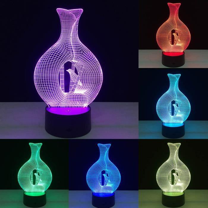 LAMPE A POSER illusion 3D visuelle Night Light 7 Modifier les co