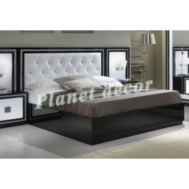 lit 160x200 model krystel noir blanc achat vente structure de lit cdiscount. Black Bedroom Furniture Sets. Home Design Ideas