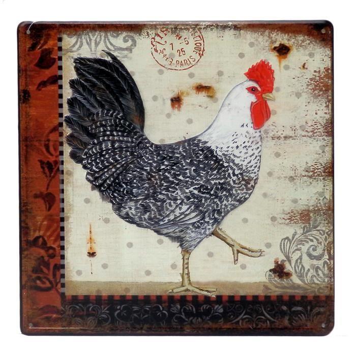 Plaque Decorative Coq Droite En Metal Decoration Deco Murale