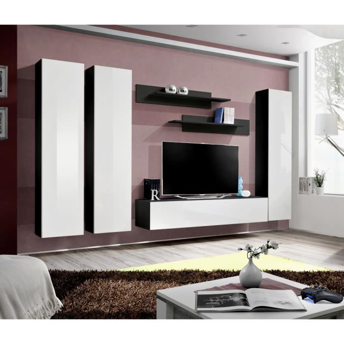 Price Factory Meuble Tv Fly C1 Design Coloris Noir Et Blanc