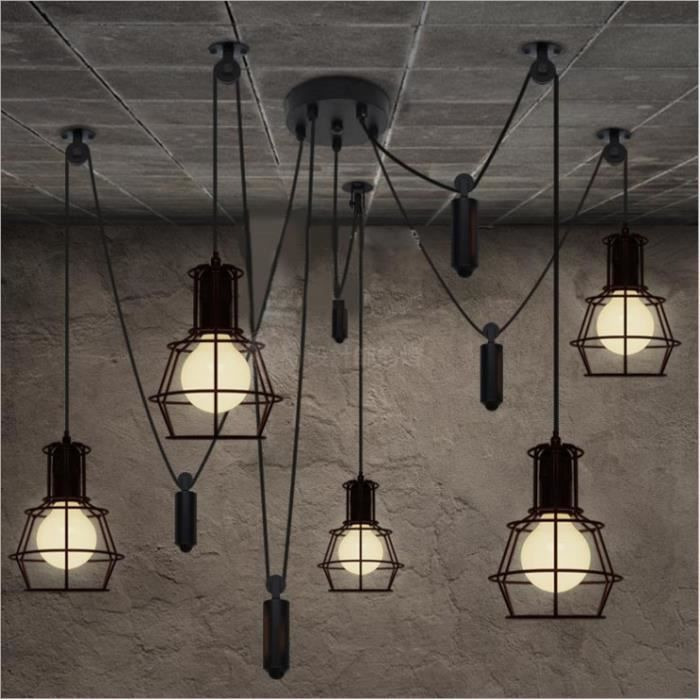 E27 Suspension Retro Industriel Ceiling Light 5 Head Luminaires Spider Lustre Adjustable Diy Pour Salle A Manger Restaurant Cafe Bar