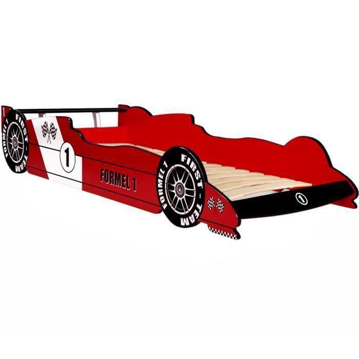 STRUCTURE DE LIT Lit enfant Voiture Formule 1 Rouge  - 90 cm x 200