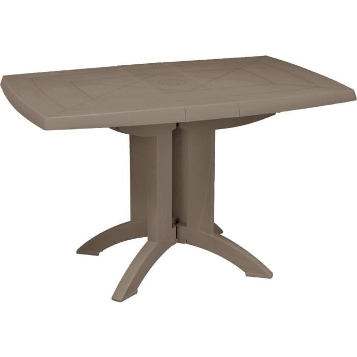 Grosfillex Table Vega Pliante 118x77 Taupe Achat Vente Table De Jardin Grosfillex Table Vega