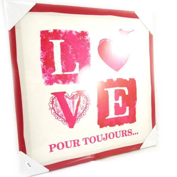 Les tr sors de lily m2198 toile love cru 40x40 cm for Decoration murale love