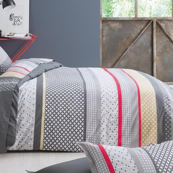 housse de couette 200x200 cm percale pur coton andrew anthracite achat vente housse de. Black Bedroom Furniture Sets. Home Design Ideas