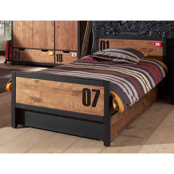 lit enfant en bois tiroir evan 90x200 achat vente lit complet lit enfant en bois tiroir. Black Bedroom Furniture Sets. Home Design Ideas
