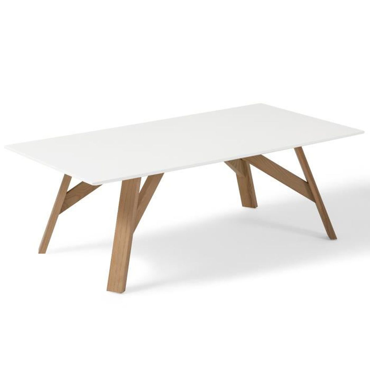 table basse design scandinave tycka blanc et pied en fr ne 120 cm x 65 cm achat vente table. Black Bedroom Furniture Sets. Home Design Ideas