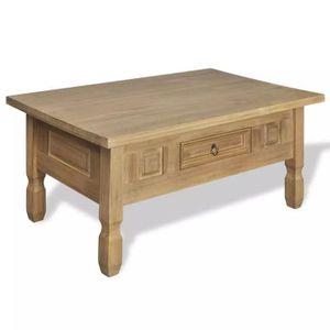 TABLE BASSE LIA Table basse avec tiroir Pinède mexicain
