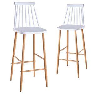TABOURET DE BAR Lot de 2 chaises de bar scandinaves blanches BERTA