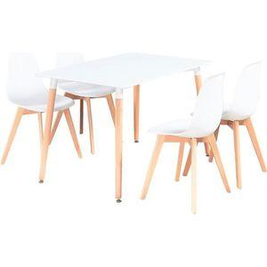 TABLE À MANGER COMPLÈTE Ensemble Table à Manger Blanche + 4 Chaises Blanch