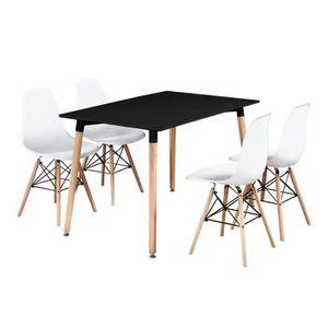 TABLE DE CUISINE  Table de salle à manger moderne noir et ensemble d