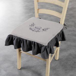 COUSSIN DE CHAISE  Galette +volant 40 x 40 x 3 cm polyester brode bon