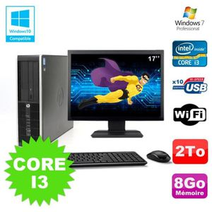 UNITÉ CENTRALE + ÉCRAN Lot PC HP Elite 8200 SFF Core I3 3.1GHz 8Go 2To DV