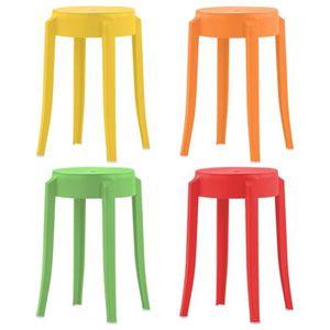 TABOURET DE BAR 4 pcs Tabourets empilables Multicolore Plastique