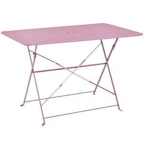 TABLE À MANGER SEULE Table pliante rectangulaire en métal coloris chama