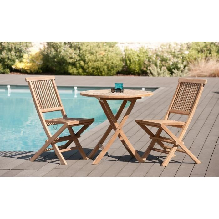 Table Ronde Pliante En Teck Massif 80x80 Achat Vente Table De Jardin Table Ronde Pliante En