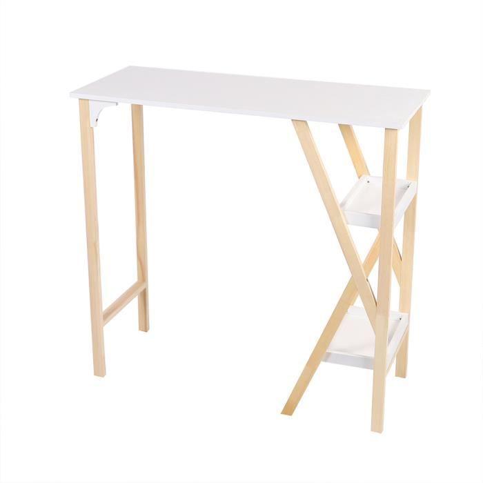 Table de Bar Cuisine Scandinave de 2-4 personnes avec 2 étagères de Rangement -112x45x107cm