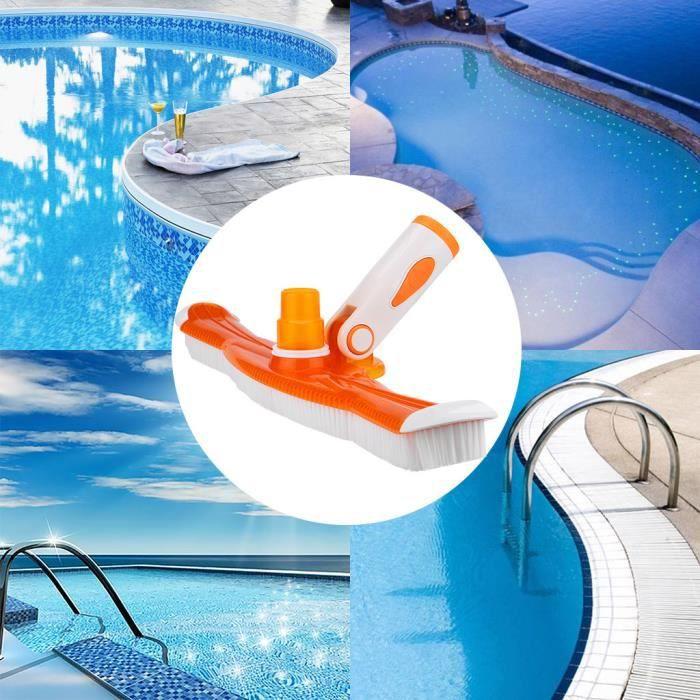 【Bonnet de bain】Brosse de piscine lourde de plancher de piscine 20 pouces Balayer facilement les algues de piscine_YU7019