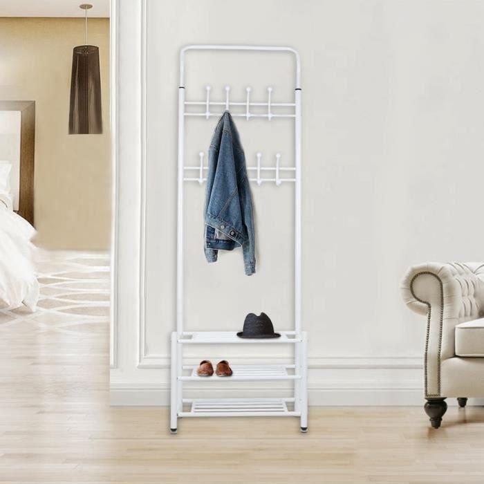 GMM® Porte Manteau-Métal-Blanc-10 Crochets-avec Étagère à Chaussures à 3 Niveaux-185*66*30 cm