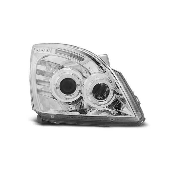 Paire de feux phares Toyota Land Cruiser 120 03-09 angel eyes chrome (O05)